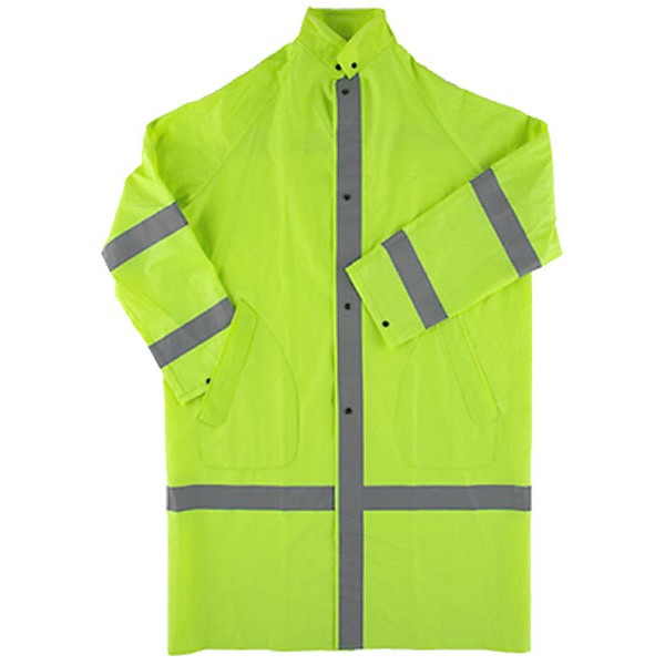 HI-VIZ ECONO COAT W/ SNAP-ON HOOD